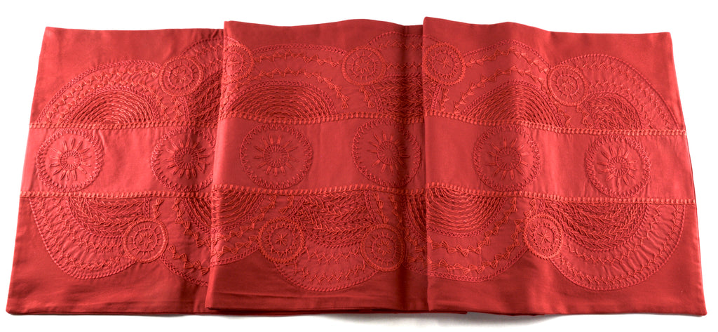 El Doce Design Embroidered Table Runner on red