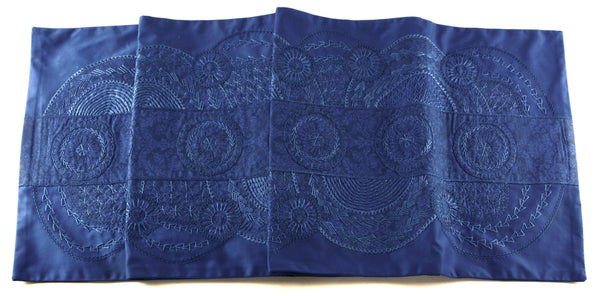 El Doce Design Embroidered Table Runner on Blue
