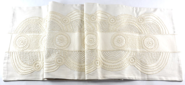 El Doce Design Embroidered Table Runner on ecru