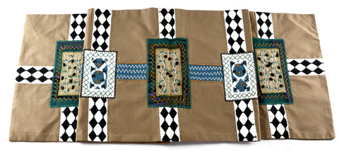 Cinturón Design Embroidered Table Runner on Nutmeg