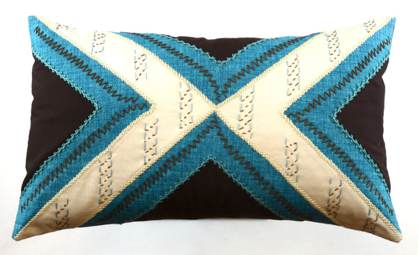 Conexiones Design Embroidered Pillow on chocolate