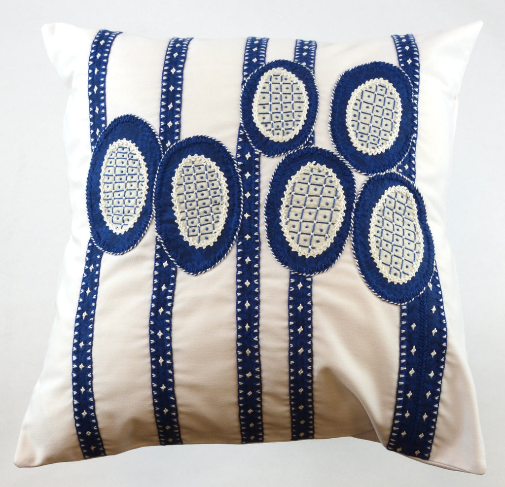 Maracas Design Embroidered Pillow on white