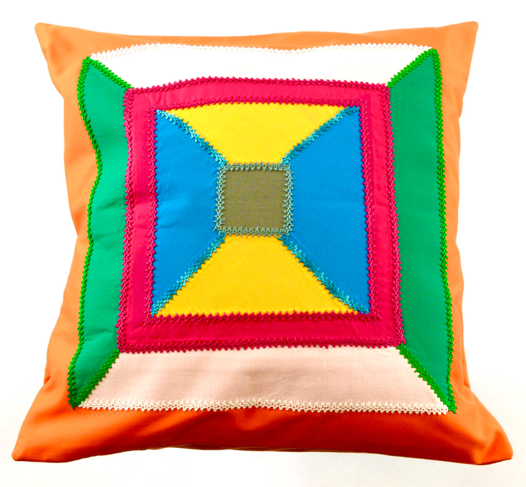 De Colores Design Embroidered Pillow on orange
