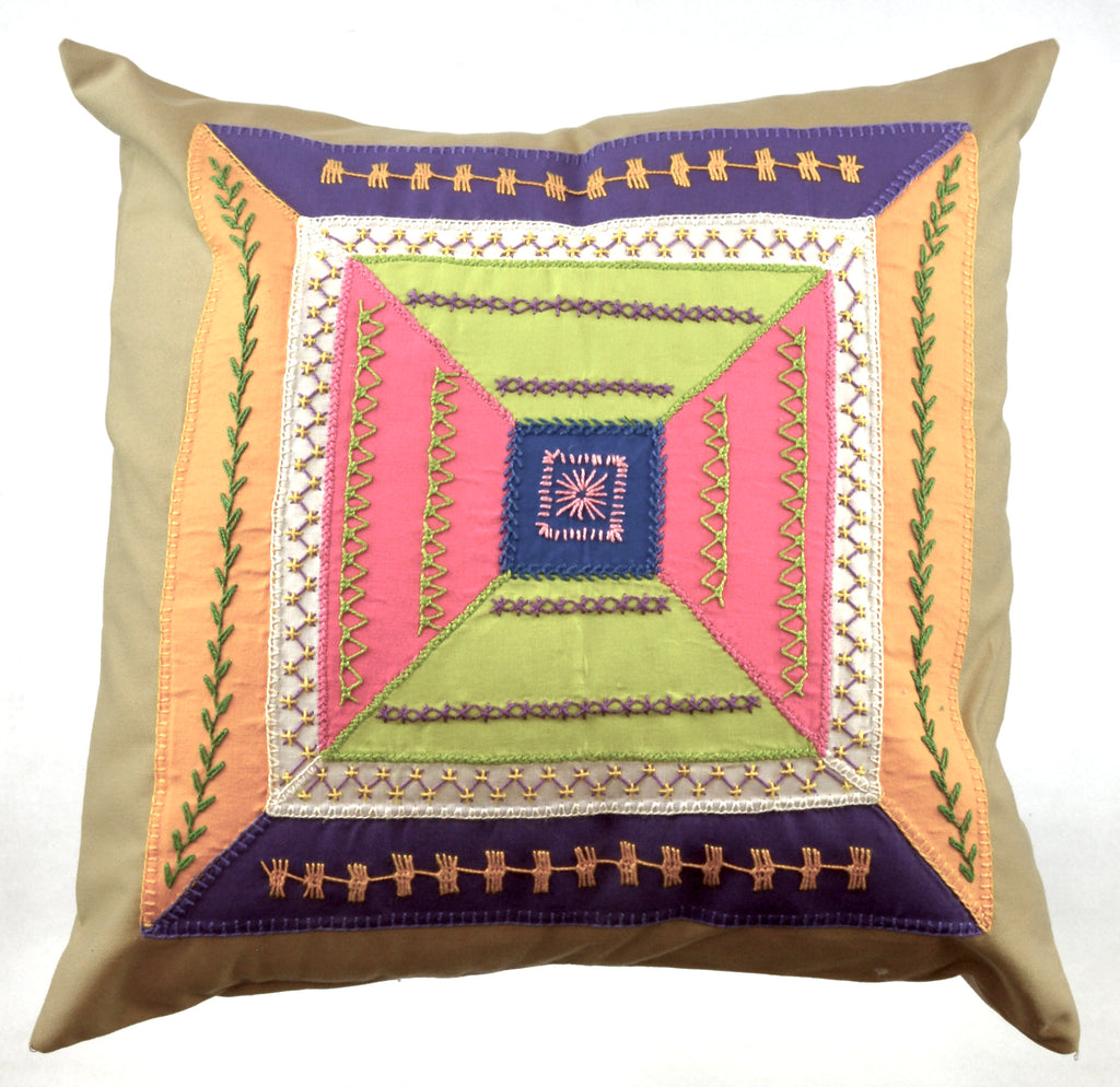 De Colores Design Embroidered Pillow on caramel
