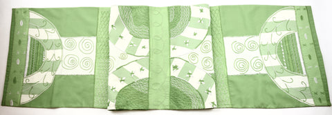 Copas Design Embroidered Table Runner on lime green