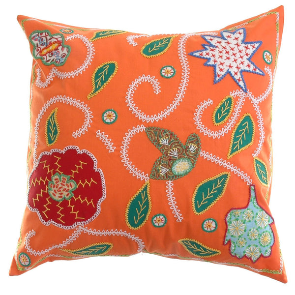 Rosas Design Embroidered Pillow on Orange