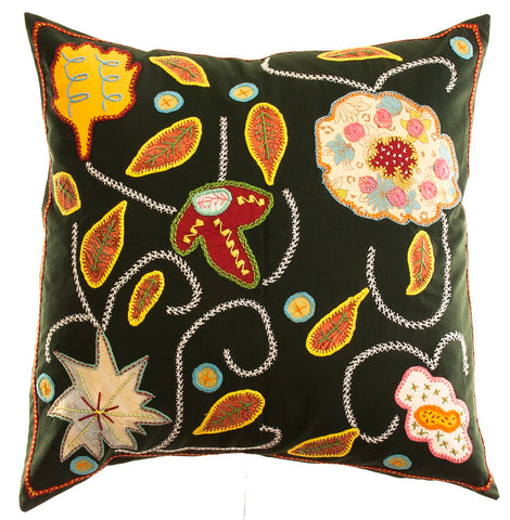 Rosas Design Embroidered Pillow on ink green