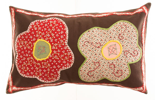 Dos Flores Design Hand-embroidered Pillow on brown