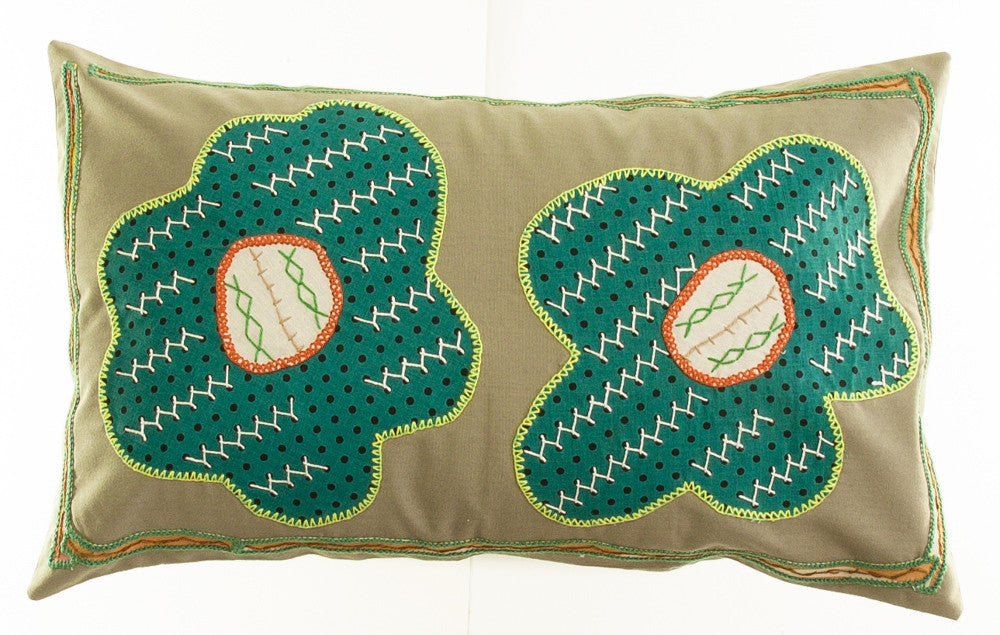 Copy of Dos Flores Design Hand-embroidered Pillow on sage