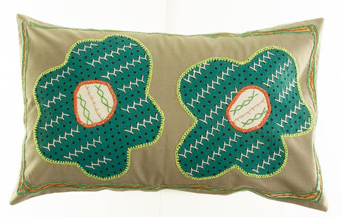 Dos Flores Design Hand-embroidered Pillow on sage