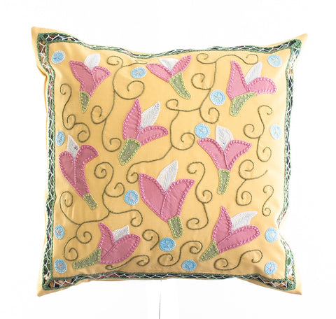 Lirios Design Embroidered Pillow on Yellow
