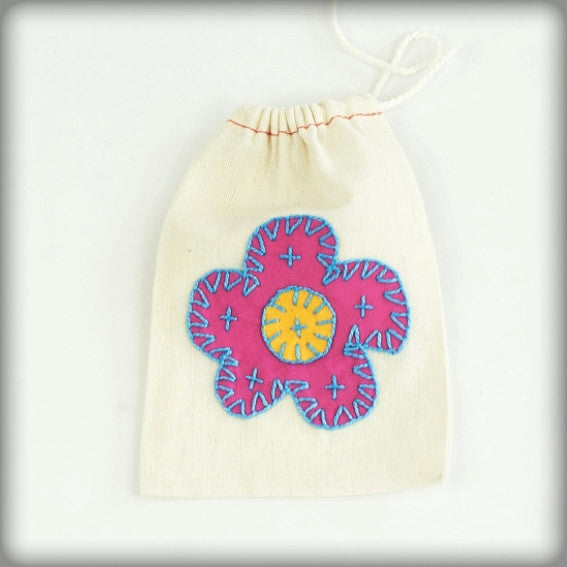 Embroidered Gift Bag with deep pink on ecru