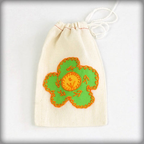 Embroidered Gift Bag with lime on ecru