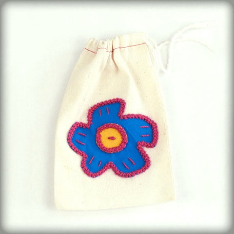 Embroidered Gift Bag with blue on ecru
