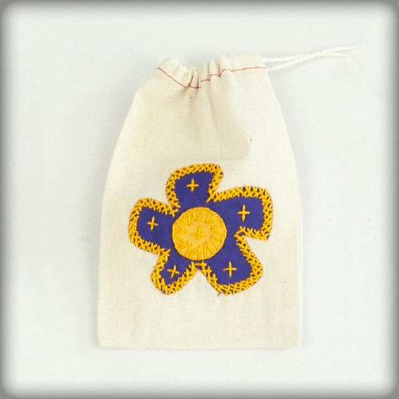 Embroidered Gift Bag with purple on ecru