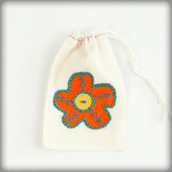 Embroidered Gift Bag with orange on ecru