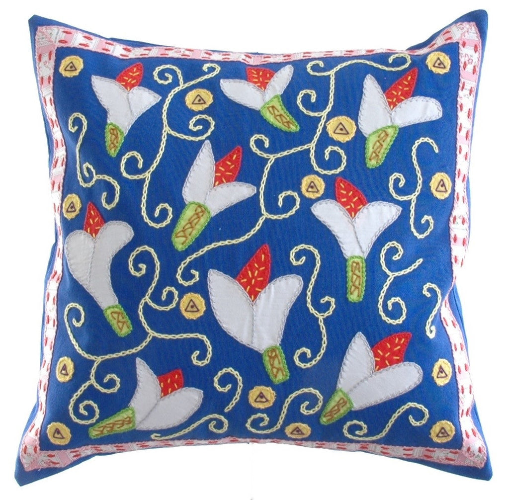 Lirios Design Embroidered Pillow on Blue