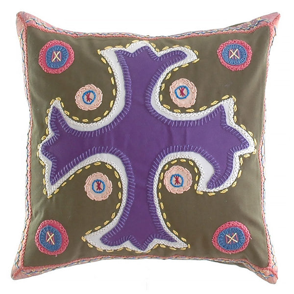 Cruz Dominicana Design Embroidered Pillow on olive