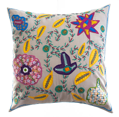 Rosas Design Hand-embroidered Pillow on Khaki