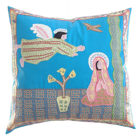 Anunciación Design Embroidered Pillow on Turquoise