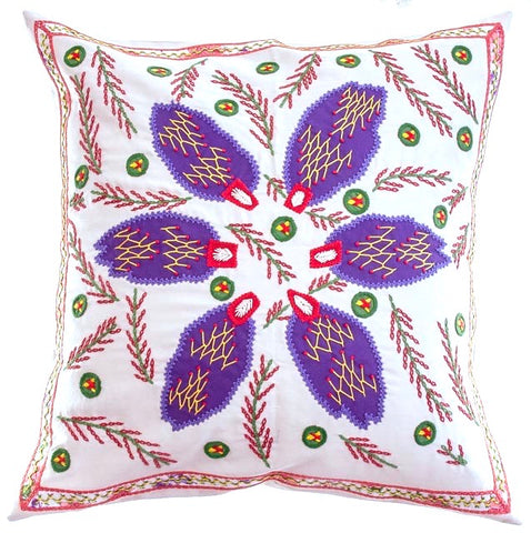 Uvas Design Embroidered Pillow on Stone
