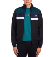 Fred Perry Colour Block Track Jacket<p>Black Petrol