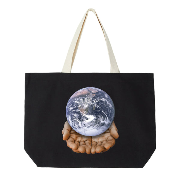 Obey Your Planet is in Your Hands Tote Bag <p> Black