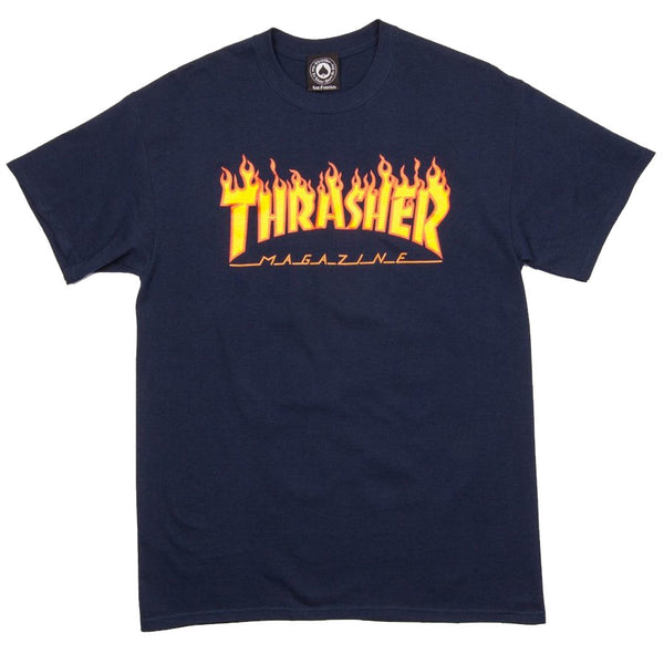 Thrasher Magazine Flame Logo T-Shirt <p>Navy Blue