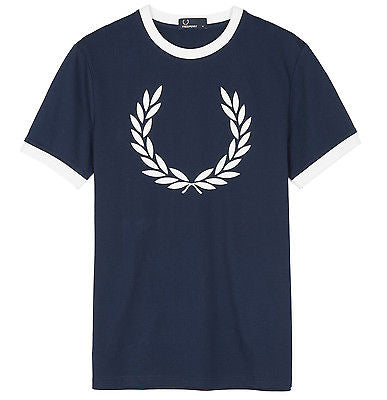 Fred Perry Laurel Wreath Ringer T-Shirt<p>Carbon Blue