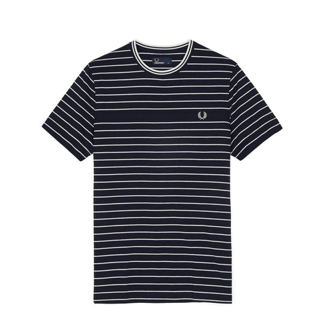 Fred Perry Piqué Stripe T-Shirt<p>Navy