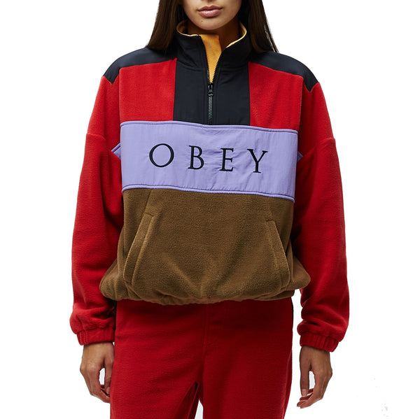 OBEY Alpine Polar Anorak <p>Red & Brown