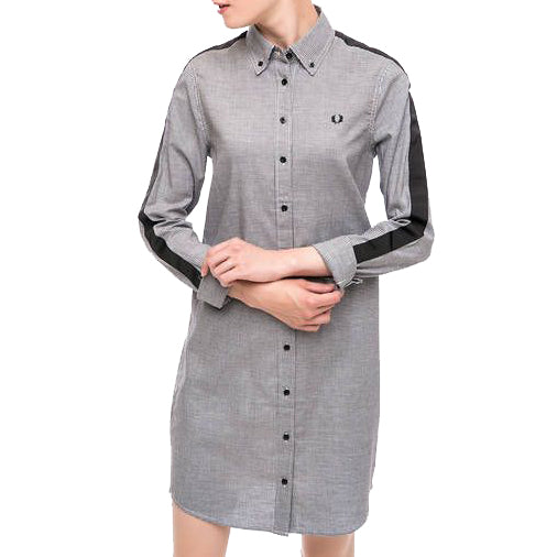Fred Perry Taped Houndstooth Shirt Dress<p>Black