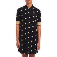 Fred Perry Spot Print Piqué Dress<p> Black