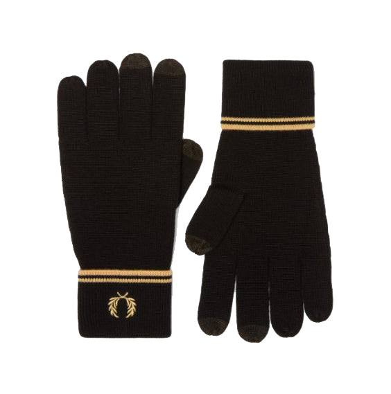 Fred Perry Twin Tipped Merino Wool Gloves<p>Black