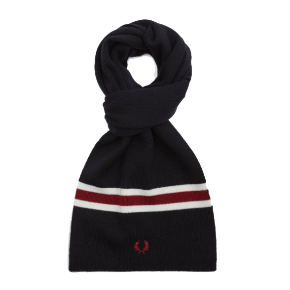 Fred Perry Merino Wool Scarf<p>Navy/Ecru