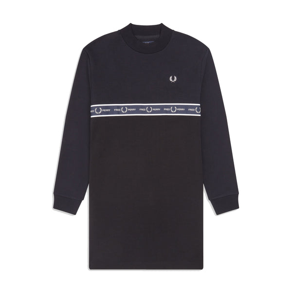 Fred Perry Taped Sweatshirt Dress<p>Black