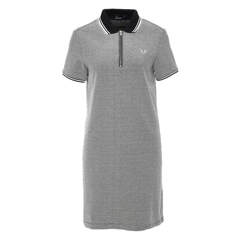 Fred Perry Textured Zip-Neck Dress <p>Navy
