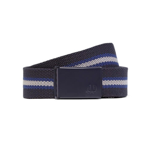Fred Perry Striped Webbing Belt<p>Navy