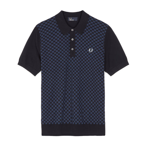 Fred Perry Tonal Knitted Shirt<p>Navy