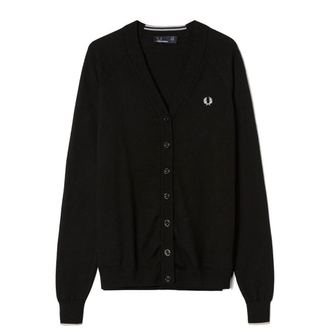 Fred Perry V-Neck Cardigan<p>Black