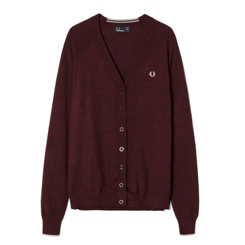 Fred Perry V-Neck Cardigan<p>Mahogany Marl