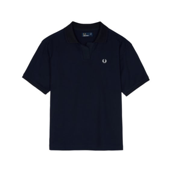 Fred Perry Open Collar Piqué Polo Shirt<p>Navy