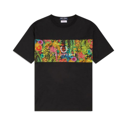 Fred Perry  Liberty Print Panel T-shirt<p>Black