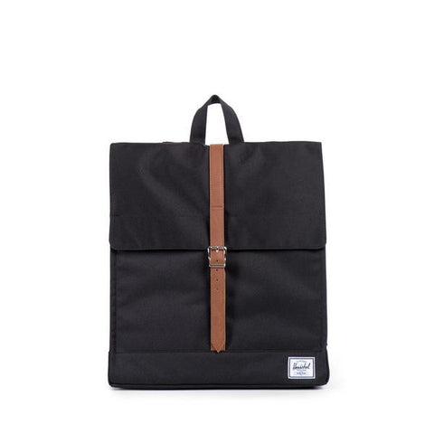 Herschel City Backpack Mid-Volume<p>Black/Tan Synthetic Leather
