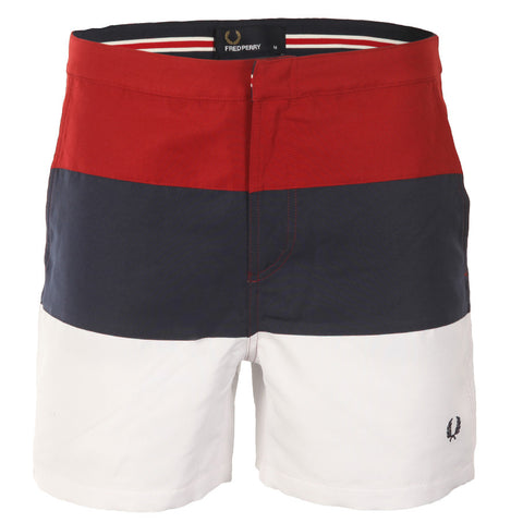 Fred Perry Striped Panel Swimshort <p>Rich Red