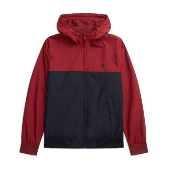 Hooded Panelled Jacket<p>Rich Red