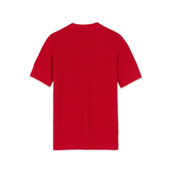 Textured Short Sleeve Crew Neck Jumper <p>Dark England Red