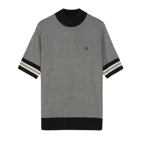 Fred Perry Houndsthooth Short Sleeve Jumper<p>Black