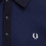 Fred Perry Long Sleeve Textured Knitted Shirt<p>Navy