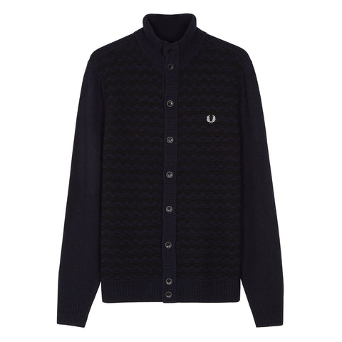 Fred Perry Textured Button Through Cardigan<p>Navy